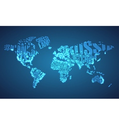 World map in typography with city lights vector