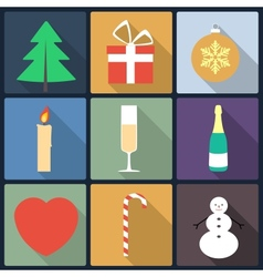 Set of christmas icons flat icons vector