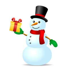 Snowman with present box vector