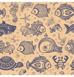 Fish and shells seamless vector