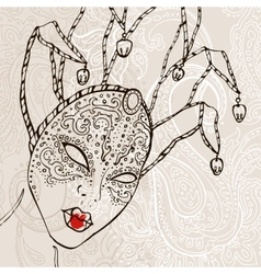 Hand Drawn Venetian carnival mask vector image