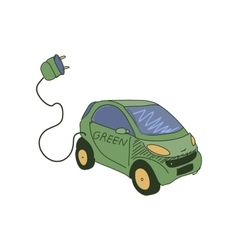 Colored doodle electric car vector image