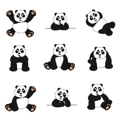 Cute panda set vector