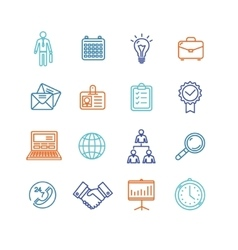 Business outline colorful icons set vector