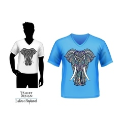 Indian elephant doodle t-shirt design banner vector