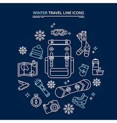 Winter travel icons kit vector