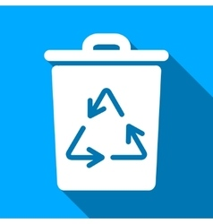 Trash can flat long shadow square icon vector