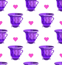 Seamless pattern with cartoon mugs-6 vector