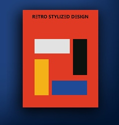 Retro bauhaus de stijl brochure booklet cover vector