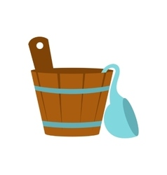 Russian bath tub icon flat style vector