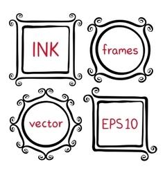 Whimsical brush frames vector
