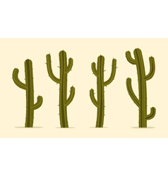 Cartoon cactus set vector