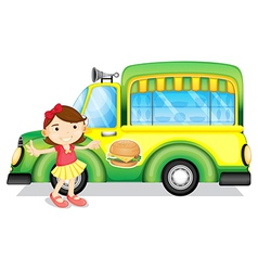 A girl beside a green burger truck vector image