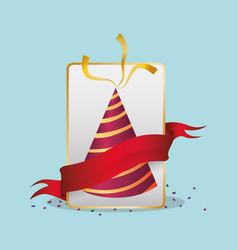 birthdat hat confetti red ribbon vector image