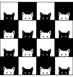Black white cat chess board background vector