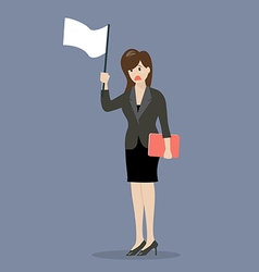 Business woman holds white flag of surrender vector