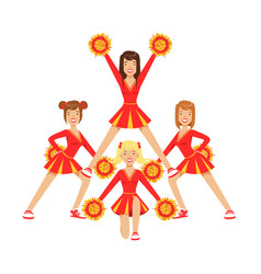 Cheerleader girls with pompoms dancing to support vector