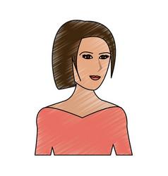 Color pencil cartoon half body woman with straight vector