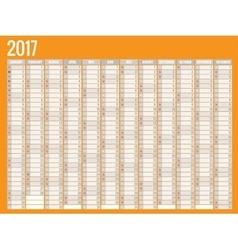 Design of Wall Monthly Calendar for 2017 Year vector image vector image