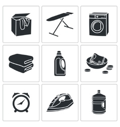 Dry cleaning laundry icons set vector