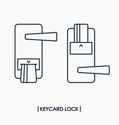 Electronic keycard door lock outline icon vector