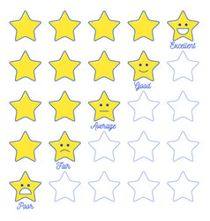 feedback emoticon star scale vector image