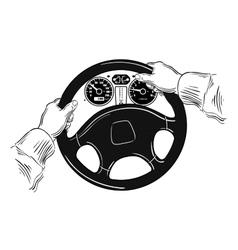 Hands on the wheel vector