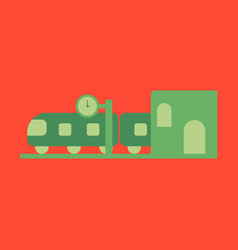 icon in flat design train station vector image