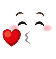In love face emoticon kawaii style vector