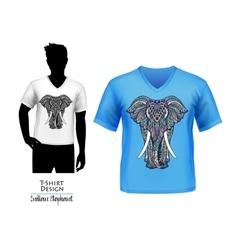 Indian elephant doodle t-shirt design banner vector