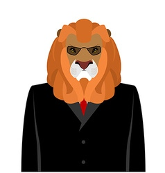 Lion businessman in black business suit predator vector image
