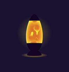 Liquid lamp orange lava lamp on dark background vector