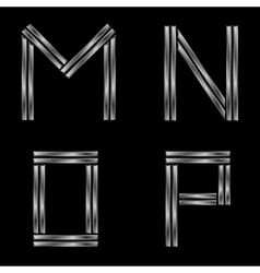 MNOP silver letters vector image vector image