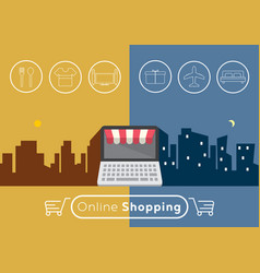 Online shopping with e-commerce concept vector