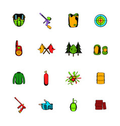 Paintball game comics icons set cartoon vector
