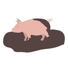 Pink pig icon vector