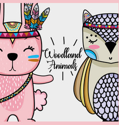 Rabbit and owl tribal animal with feathers vector