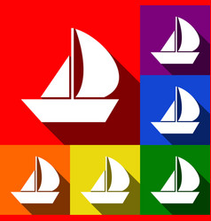 Sail boat sign set of icons with flat vector