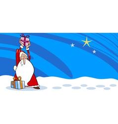 Santa Claus with presents cartoon card vector image