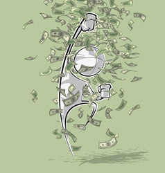 Simple people victorious money rain vector
