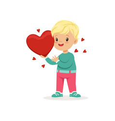 sweet little boy holding red heart happy vector image
