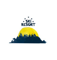 the sun rises over the mountain advertising ski vector image