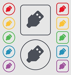 USB icon sign symbol on the Round and square vector image