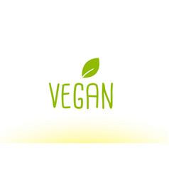 Vegan green leaf text concept logo icon design vector