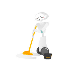 wheeled robot assistant washing floor with a mop vector image vector image