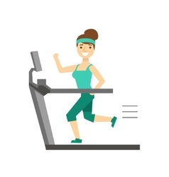 Woman running on treadmill member of the fitness vector