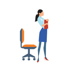 Young business woman near chair in flat design vector
