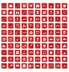 100 learning kids icons set grunge red vector image vector image