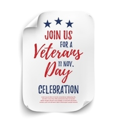 Veterans day party poster vector