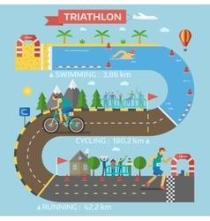 Triathlon race infographic vector
